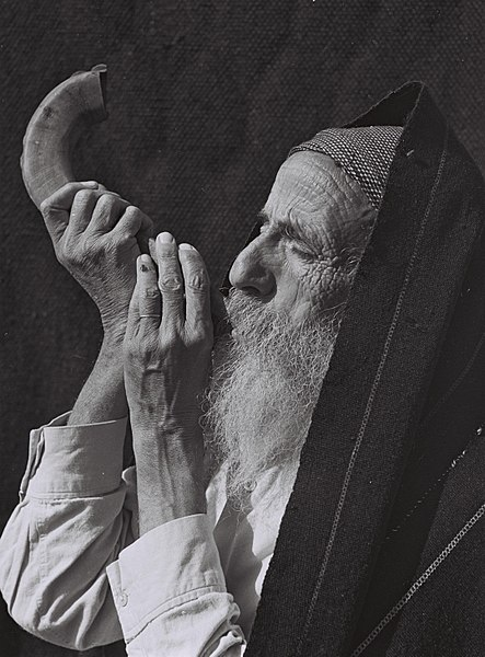 Man blowing a Shofar