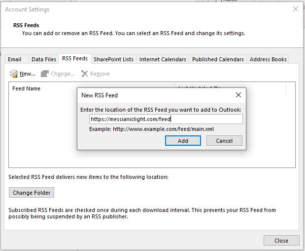 Outlook RSS Dialog Box