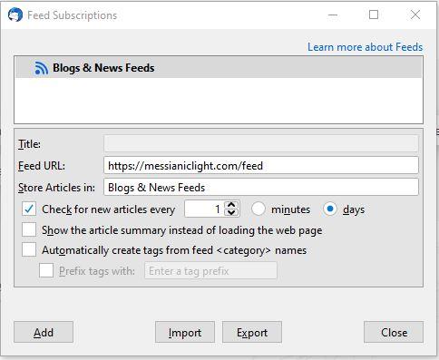 Thunderbird RSS Dialog Box